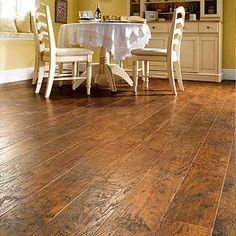 Vinyl plank floors.  Looks like hardwood planks, but not as expensive.