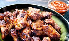 """Healthy but delicious """"game food"""" for the football fans: kick off the fall sports season in style with these spicy, savory wings."""