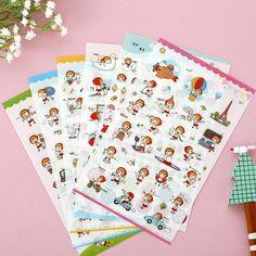 6 pcs/lot Little Red Riding Hood cute girl paper sticker diy decoration sticker for album scrapbooking kawaii stationery post