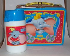 Vintage Walt Disney Dumbo Metal Lunch Box with Thermos