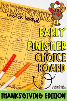 Thanksgiving Choice Board - Morning Work or Early Finisher Activities Thanksgiving Classroom Activities, Thanksgiving Books, Fun Math Activities, Thanksgiving Parties, Classroom Ideas, Holiday Activities, 2nd Grade Writing, Third Grade, Gifted Students