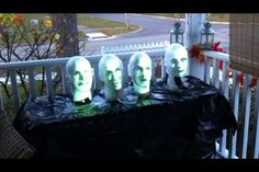 i like this diy take on disney's haunted mansion singing busts. this is sure to surprise a few trick-or-treaters!