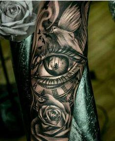Need eyes tattoos leg sleeve tattoo, full sleeve tattoos, body tattoos, forearm tattoos Dream Tattoos, Badass Tattoos, Future Tattoos, Body Art Tattoos, Tattoos For Guys, Small Tattoos, Bmth Tattoo, Hip Tattoo Quotes, Clock Tattoo Sleeve