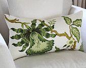 Schumacher Hot House Flowers Lumbar Pillow Cover in Verdance 22 x 12