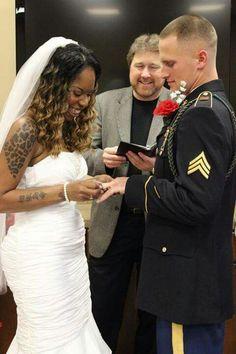 Beautiful interracial couple military wedding photography #love #wmbw #bwwm