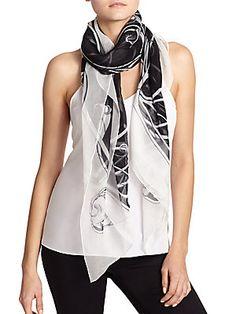Alexander McQueen Art Nouveau Skull Print Silk Scarf