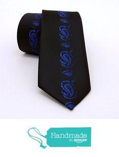 "Sax blue and black floral, paisley men's tie 6 cm (2,36"") SL-572 from Nazo… #handmadeatamazon #nazodesign"