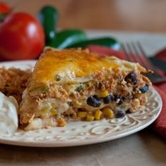 Mexican Lasagna with White Sauce by AFamilyFeast