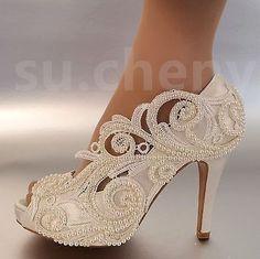 8/10 cm heel Pearl white ivory silk lace open toe Wedding shoes Bride size 5-9.5 #weddingshoes