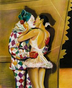 The Kiss by Mark Stock Kiss Mark, Clowning Around, Mystery Novels, Lets Dance, Dance Art, Carnival, Drawings, Illustration, Prints