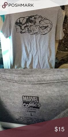 Large Marvel mens Hero classics tee 90% Cotton, 10% Polyester, great condition. Veru comfortable. Worn maybe once or twice. Dont forget to bundle to save. Free gift with every bundle purchase. Marvel Shirts Tees - Short Sleeve