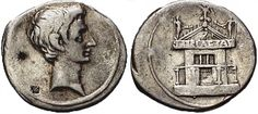 a) denarius of Octavian b) c.36bce c) silver d) Rome? e) depicts the Curia Julia, which was started by JC and finished by Aug, propaganda of Aug as a benefactor of the SPQR, connects him yet again to JC, refers to his architectural legacy