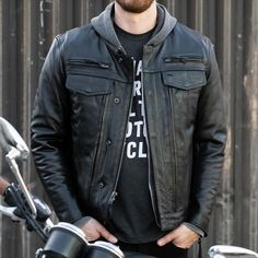 The Raider jacket from First Manufacturing is a great example of a no-nonsense leather jacket perfect for riding. Comes with armour-ready pockets if you want to upgrade your safety and a zip out liner if you want to rock it in either cold or warmer temps. If you need a new riding jacket come and try this one on! #motojacket Cowhide Leather, Leather Men, Leather Jacket, Riding Jacket, Moto Jacket, Motorcycle Riding Gear, Stitching Leather, Range Of Motion, Raiders