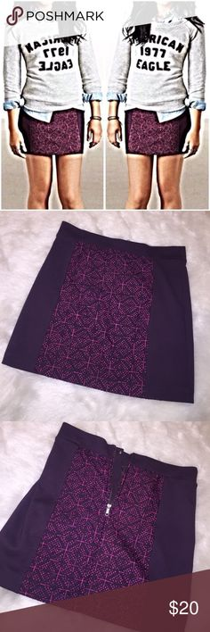 •American Eagle Paneled Macrame Mini Skirt• Adorable purple mini skirt with paneled purple and pink macrame. Gently worn, still in great condition! Photo courtesy of Pinterest. American Eagle Outfitters Skirts Mini