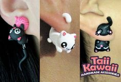 Kitten earrings set by TaiiKawaiiOfficial on Etsy Cute Polymer Clay, Cute Clay, Fimo Clay, Polymer Clay Projects, Polymer Clay Charms, Polymer Clay Earrings, Clay Cats, Animal Earrings, Pusheen