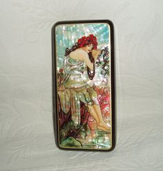 "Beautiful Hand Painted Russian Lacquer box mother of pearl miniature "" Summer Poppy "" by A.Mucha ART NOUVEAU"