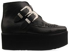 Underground Croc Boot in Black Croc Leather at Solestruck.com- kinda loving these, despite their obnoxious sole