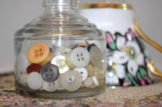 Vintage Clear Bottles and Vintage Buttons by TheEclecticInterior, $22.00