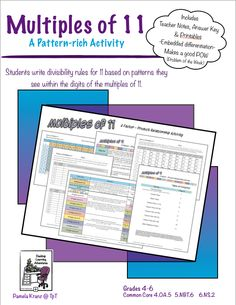 Multiples of 11:  A Factor-Product Relationship Activity. Students investigate patterns in the digits of multiples of 11 to create divisibility rules. Grades 4-6  $