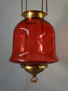 19thC Antique VICTORIAN Era CRANBERRY Red GLASS Pull Down OIL LAMP CHANDELIER