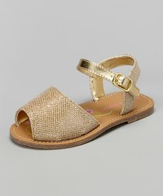 Another great find on #zulily! Gold Textured Sandal by Laura Ashley #zulilyfinds