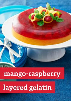 Mango-Raspberry Layered Gelatin -- This colorful and refreshing dessert recipe is sure to be a hit at your next get-together!