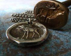 Deer Wax Seal Necklace. Wax Seal Jewelry. by RenataandJonathan, $85.00