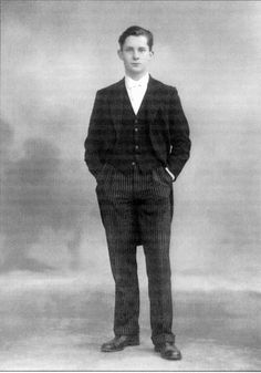 """Jeremy Brett in Etonian attire. 1949.  """"I found it a great strain to be dressed constantly in the uniform of striped trousers and blac..."""