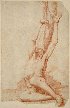 Jusepe de Ribera (Spanish, 1591-1652), Study for Martyrdom of St. Sebastian, ca. 1626. Red chalk on paper. William Lowe Bryan Memorial, Indiana University Art Museum