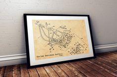 Harley Davidson Poster, Harley Softail Print, A3 Poster, Motorcycle Print, Harley Softail Blueprint, Frame Blueprint, Blueprint Canvas