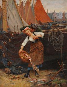"Alfred Guillou, (1844-1923), ""Le baiser volé"""