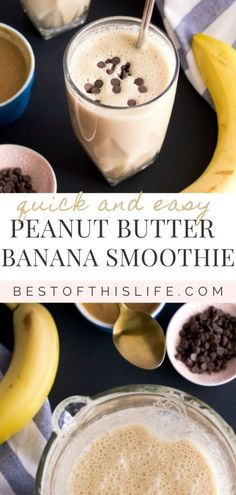 This delicious Peanut Butter Banana Smoothie is quick and easy to whip up for a nutritious and energizing breakfast. It's thick, creamy, lightly sweet, and refreshing. If you're a fan of peanut butter, you'll love it! Peanut Butter Smoothie, Peanut Butter Banana, Yummy Smoothies, Smoothie Recipes, Good Healthy Recipes, Healthy Drinks, Free Recipes, Benefits Of Eating Bananas, My Favorite Food