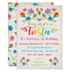 Mexican Fiesta Birthday Party with embroidery Invitation 50th Birthday Invitations, Bridal Shower Invitations, Custom Invitations, Invites, Invitation Ideas, Mexican Fiesta Birthday Party, Mexican Party, Fiesta Party, Quinceanera Invitations
