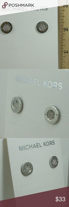 Auth Michael Kora Pave Logo Studs /Silver MICHAEL KORS Silver Tone Crystal Pave Logo Stud Earrings MKJ3352  Brand new with tags  No trades please 100% Authentic! Michael Kors Jewelry Earrings