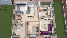 95 m2-es kádárkocka energiatudatos felújítása, alaprajzzal és látványtervvel Az alaprajzon jól látható, hogy minden egyben van, de mégis elkülönülnek a funkciók. Ezt tudtuk kihozni az meglévő családi ház kötöttségeiből. Így lett egy 95 m2-es három hálószobás családi házunk. A kép alja a déli irány. House Plans, Floor Plans, Organization, How To Plan, Home, Google, Getting Organized, Organisation, Ad Home