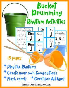 Bucket Drumming Activities And Benefits Online Music Lessons, Music Lessons For Kids, Drum Lessons, Preschool Music, Teaching Music, Kindergarten Music, Movement Activities, Music Activities, Music Classroom