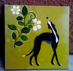 Greyhound Painting by Jennifer Howard Art