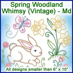 A Spring Woodland Whimsy (Vintage) Design Pack - Md design (X10613) from www.Emblibrary.com