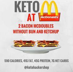 Keto at McDonalds. Keto tips and tricks. Keto Diet Fast Food, Keto Diet Plan, Low Carb Diet, Keto Snacks, Ketogenic Diet, Paleo Diet, Ketos Diet, 7 Keto, Keto Taco