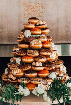 Donut Wedding Decor Trends 2019 ★ donut wedding decor trend color cake alternative debbielourens photographer From donut walls to towers and cakes, see best ways to serve donuts at your wedding in These dessert tables and donut stations will inspire you. Donut Wedding Cake, Wedding Donuts, Cool Wedding Cakes, Wedding Desserts, Wedding Dessert Buffet, Autumn Wedding Cakes, Wedding Foods, Donut Bar, Donut Tower