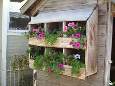 DIY Craft Projects for the Yard and Garden - Trash to Treasure...I love this old chicken nesting box used as a planter.  It looks easy enough to build, but I think I would put spacers behind it so that the wood wouldn't quickly rot.  I see a new idea for an herb garden!