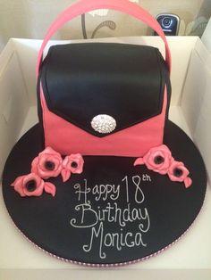 Black and pink handbag