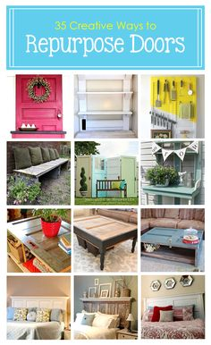 Diy Furniture : 35 Creative Ways to Repurpose Old Doors Furniture Projects, Furniture Makeover, Diy Furniture, Repurposed Items, Repurposed Furniture, Repurposed Doors, Diy Projects To Try, Home Projects, Crafty Projects