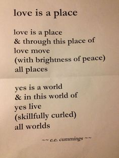 love is a place, e.e. cummings
