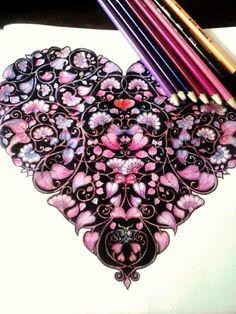Heart. Secret Garden. Coração. Jardim secreto. Johanna Basford