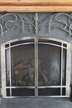Steel & Wood Fireplace, detail by Maynard Studios