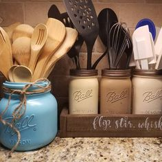 Fantastic mason jar tips are offered on our web pages. look at th s and you wont be sorry you did. Colored Mason Jars, Blue Mason Jars, Mason Jar Diy, Mason Jar Crafts, Mason Jar Kitchen Decor, Kitchen Jars, Utensil Storage, Utensil Holder, Mason Jar Soap Dispenser