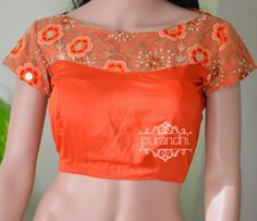 Match your Saree with his Beautiful Orange Boat neck Blouse Available in all sizes.Price : 2100/-For Inquires contact us at purandhistore@gmail.comOr What s app : 9063534017 10 September 2016