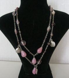Necklace  Pink Glass Beads Chain and Oyster Shell by SwedishShop, $6.90