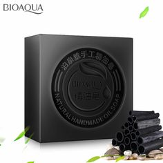 Ladies Natural Black Bamboo Charcoal Skin Whitening Handmade Soap Blackhead Remover Acne Treatment Oil Control Face Wash Soaps